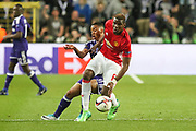 Paul Pogba Midfielder of Manchester United battles with Anderlecht Midfielder Youri Tielemans during the UEFA Europa League Quarter-final, Game 1 match between Anderlecht and Manchester United at Constant Vanden Stock Stadium, Anderlecht, Belgium on 13 April 2017. Photo by Phil Duncan.
