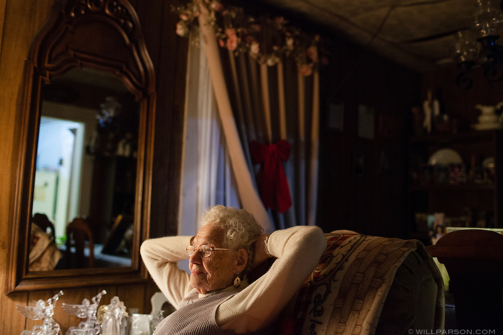 "Thelma Trout, 98, lives alone outside of Coolville, Ohio, even though friends and family have urged her to move from her rural home to a more developed area. ""I'm doin' great by myself,"" Trout said."