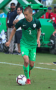 Slovenia defender Jemej Belinc (2) carries the ball up the field in a game against Canada during a CONCACAF boys under-15 championship soccer game, Saturday, August 10, 2019, in Bradenton, Fla. Slovenia defeated Canada in 2-1 in overtime and advanced to the finals against Portugal. (Kim Hukari/Image of Sport)