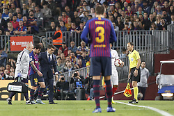 October 20, 2018 - Barcelona, Catalonia, Spain - FC Barcelona forward Lionel Messi (10) injured during the match FC Barcelona against Sevilla FC, for the round 9 of the Liga Santander, played at Camp Nou  on 20th October 2018 in Barcelona, Spain. (Credit Image: © Mikel Trigueros/NurPhoto via ZUMA Press)