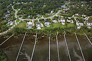 Aerial view of estate homes along Molasses Creek in Mt Pleasant, SC