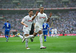 LONDON, ENGLAND - Saturday, May 30, 2011: Swansea City's Scott Sinclair celebrates his hat-trick as he scores the fourth goal against Reading from the penalty spot to seal victory during the Football League Championship Play-Off Final match at Wembley Stadium. (Photo by David Rawcliffe/Propaganda)