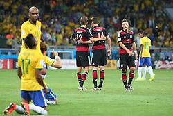 08.07.2014, Mineirao, Belo Horizonte, BRA, FIFA WM, Brasilien vs Deutschland, Halbfinale, im Bild Enttaeuschung bei Brasilien und Freude bei deutschen Spielern // during Semi Final match between Brasil and Germany of the FIFA Worldcup Brazil 2014 at the Mineirao in Belo Horizonte, Brazil on 2014/07/08. EXPA Pictures © 2014, PhotoCredit: EXPA/ Eibner-Pressefoto/ Cezaro<br /> <br /> *****ATTENTION - OUT of GER*****