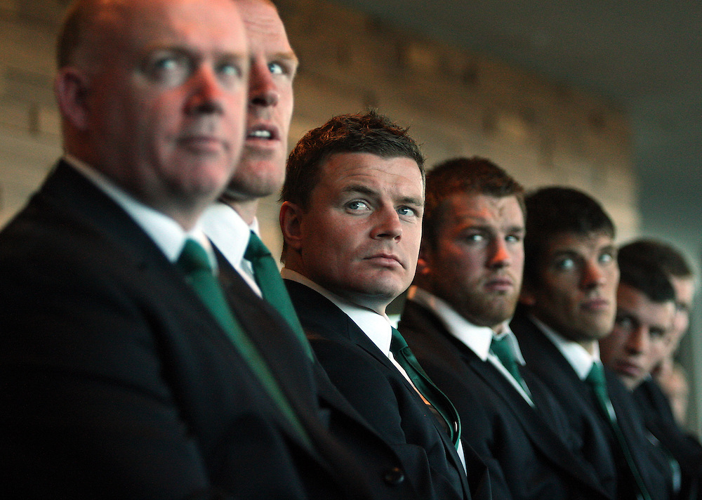 Ireland's Brian O'Driscoll, centre, looks on at the Ireland Rugby World Cup team welcome ceremony at the Wakatipu Wing, Skyline Queenstown, New Zealand, Sunday, September 04, 2011. Credit:SNPA / Dianne Manson.
