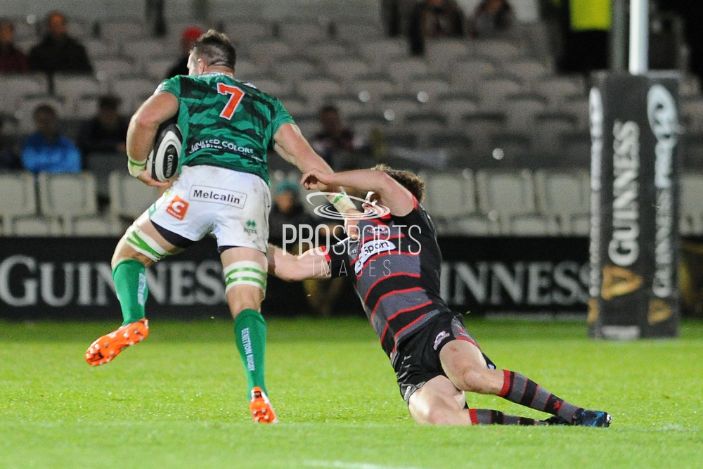 Abraham Steyn on the ball in the Guinness Pro 14 2017_18 match between Edinburgh Rugby and Benetton Treviso at Myreside Stadium, Edinburgh, Scotland on 15 September 2017. Photo by Kevin Murray.