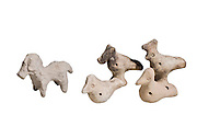 Terra-cotta horse and birds 2nd millennium BC 3.8-5.8 cm high