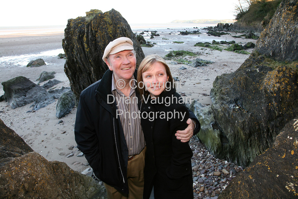 23/11/2006.Liam Clancy and his daughter Fiona pictured at the beach near their home in Ring..Picture Dylan Vaughan.