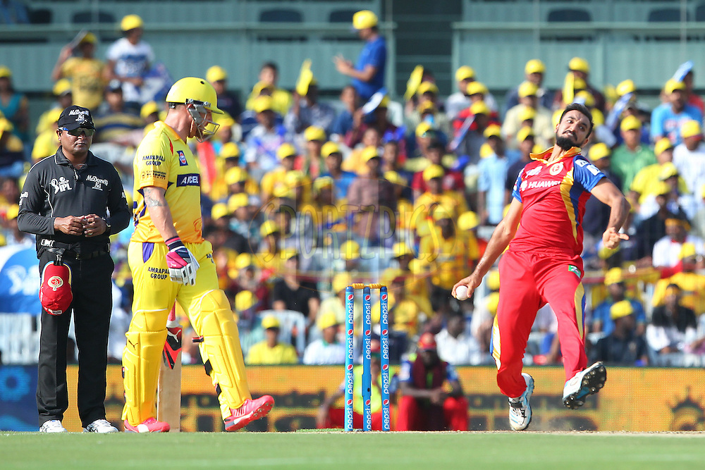 Harshal Patel of the Royal Challengers Bangalore  during match 37 of the Pepsi IPL 2015 (Indian Premier League) between The Chennai Superkings and The Royal Challengers Bangalore held at the M. A. Chidambaram Stadium, Chennai Stadium in Chennai, India on the 4th May April 2015.<br /> <br /> Photo by:  Ron Gaunt / SPORTZPICS / IPL