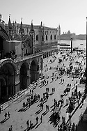 Italy. Venice. the Piazzetta , the column of the lion of san Marco and the colum of Theodore  , the lagoon and San Giorgio Maggiore church island, on the left side the ducal palace  Venice - Italy   / <br /> la Piazzetta, les colonnes du lion de san Marco et de theodore, symbole de la ville, la lagune et l eglise San Giorgio Maggiore, sur la gauche le palais des doges de san Marco  Venise - Italie