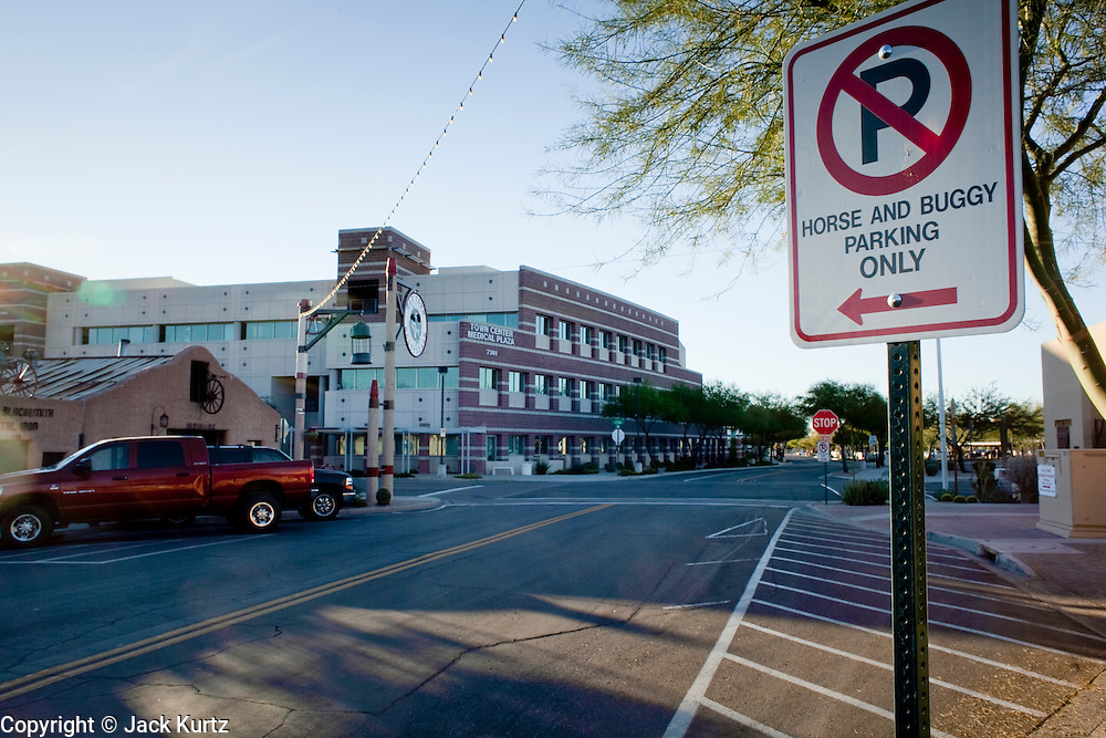 10 JANUARY 2009 -- SCOTTSDALE, AZ:  A parking sign on Brown Ave. in downtown Scottsdale, AZ. Scottsdale prides itself on its western heritage, but the sign is meant to reserve spaces for the tourist carriages in town. PHOTO BY JACK KURTZ