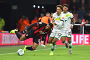 Jordon Ibe (10) of AFC Bournemouth is fouled by Jamal Lewis (12) of Norwich City during the EFL Cup 4th round match between Bournemouth and Norwich City at the Vitality Stadium, Bournemouth, England on 30 October 2018.