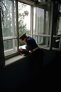 A young Russian Don Cossacks student studies at the Don Cossack Military School in Novocherkassk, Russia.