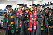 (Left to Right) Wesley  Lumpkin, Brandon Foote, Tyler Kimble, Jamison Days, and Jarman Smith at undergraduate commencement. Photo by Ben Siegel