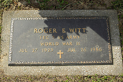 31 August 2017:   Veterans graves in Park Hill Cemetery in eastern McLean County.<br /> <br /> Roger E Witt  TEC5 US Army  World War II  Jul 27 1923  Jul 26 1986