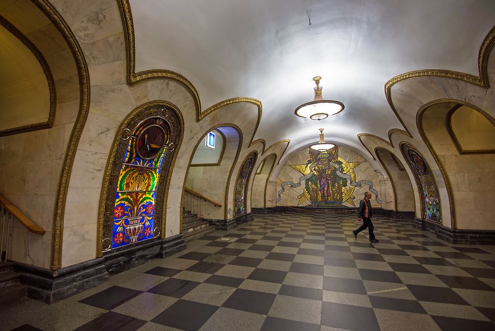 Novoslobodskaya Metro Station, arguably the most beautifully designed, by Pavel Korin, features stained glass panels and brass fittings.It has echoes of Alice in Wonderland.