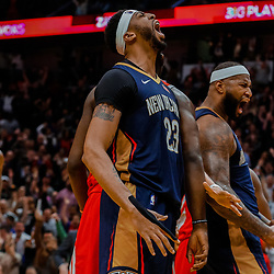 Jan 26, 2018; New Orleans, LA, USA; New Orleans Pelicans forward Anthony Davis (23) and center DeMarcus Cousins (0) react after a basket during the fourth quarter against the Houston Rockets at the Smoothie King Center. Pelicans defeated the Rockets 115-113. Mandatory Credit: Derick E. Hingle-USA TODAY Sports