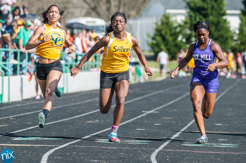 Concord's Millie McCoy, center, beats out Jay M. Robinson's Ashton Brown, Central Cabarrus' Jada Wallace and Cox Mill's Jasmine Cox during the Cabarrus County Track and Field Championship at A.L. Brown High School in Kannapolis Wednesday afternoon.