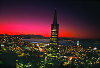 Transamerica pyramid and the skyline of San Francisco at twilight, San Francisco, California