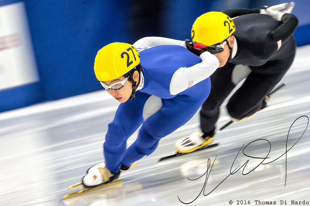 March 20, 2016 - Verona, WI - Thomas Insuk Hong, skater number 273 competes in US Speedskating Short Track Age Group Nationals and AmCup Final held at the Verona Ice Arena.