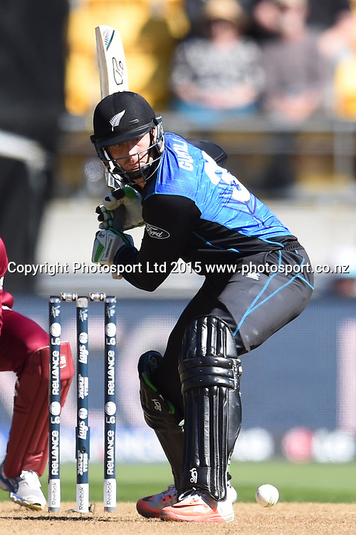 New Zealand batsman Martin Guptill in action during the ICC Cricket World Cup Quaterfinal match between New Zealand and West Indies at Westpac Stadium in Wellington, New Zealand. Saturday 21  March 2015. Copyright Photo: Raghavan Venugopal / www.photosport.co.nz