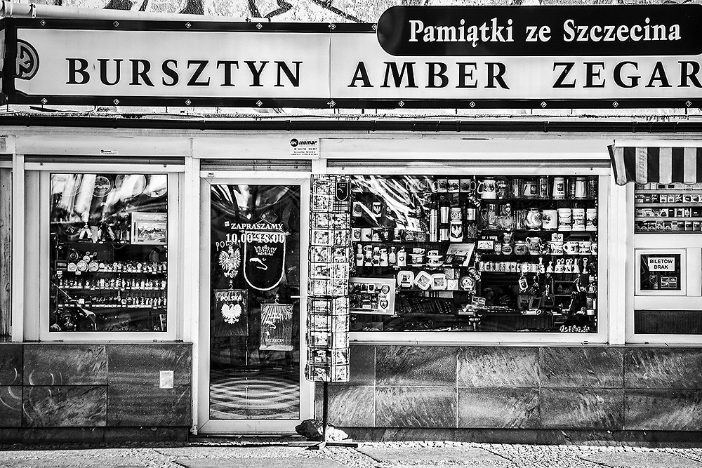 A souvenir shop along the streets of Szczecin, Poland.