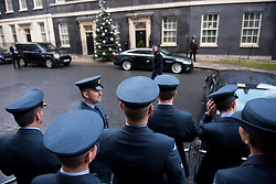 © Licensed to London News Pictures. 14/12/2016. London, UK. Members of the Royal Air Force wait for British prime minister THERESA MAY to leave 10 Downing Street after meeting with the PM at a reception for a Military awards. Photo credit: Ben Cawthra/LNP