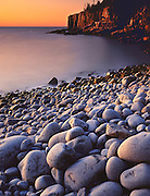 Wave-worn boulders at sunrise, Otter Cliffs, Acadia National Park, Maine