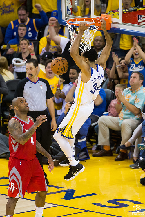 Golden State Warriors guard Shaun Livingston (34) dunks the ball against the Houston Rockets during Game 6 of the Western Conference Finals at Oracle Arena in Oakland, Calif., on May 26, 2018. (Stan Olszewski/Special to S.F. Examiner)