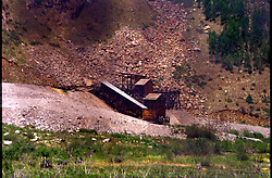 Old mining buildings located in Rocky Mountains outside Silverton Colorado