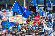 Assembling in Park Lane - The People's Vote March For The Future demanding a Vote on any Brexit deal. The protest assembled on Park Lane and then marched to Parliament Square for speeches.