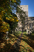 The church of St Mary's in the Northumbrian village of Blanchland, on 29th September 2017, in Blanchland, Northumberland, England. St. Marys is on the site of the former Abbey and the village got its name from the white habits worn by monks of the Premonstratensian order who founded Blanchland Abbey. Built in the 13th century, the abbey survived until the 16th century when it fell into ruin. Parts of the Abbey survive including St. Mary's Church, which was rebuilt in 1751-52. Blanchland is a village in Northumberland, England, on the County Durham boundary. It is a conservation village, largely built of stone from the remains of the 12th-century Abbey. It features picturesque houses, set against a backdrop of deep woods and open moors. Set beside the river in a wooded section of the Derwent valley, Blanchland is an attractive small village in the North Pennines Area of Outstanding Natural Beauty.