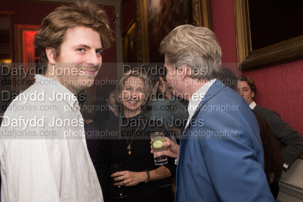 LEO ROBSON; DAISY WAUGH, COSMO LANDESMANLiterary Review Christmas party and Bad SEx Awards. In and Out club. St. James Sq. London. 3 December 2018