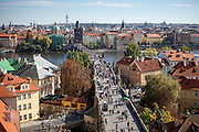 Charles Bridge seen from the top of a tower in direction of Old Town Square.