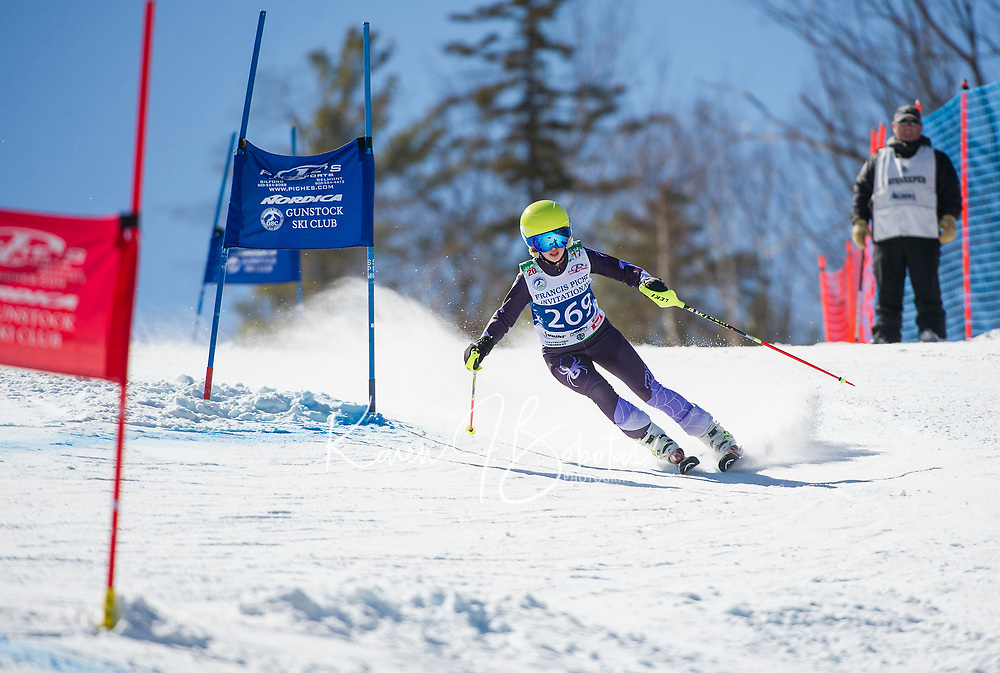Francis Piche Invitational U14 ladies second run with Gunstock Ski Club.  <br /> &copy;2017 Karen Bobotas Photographer