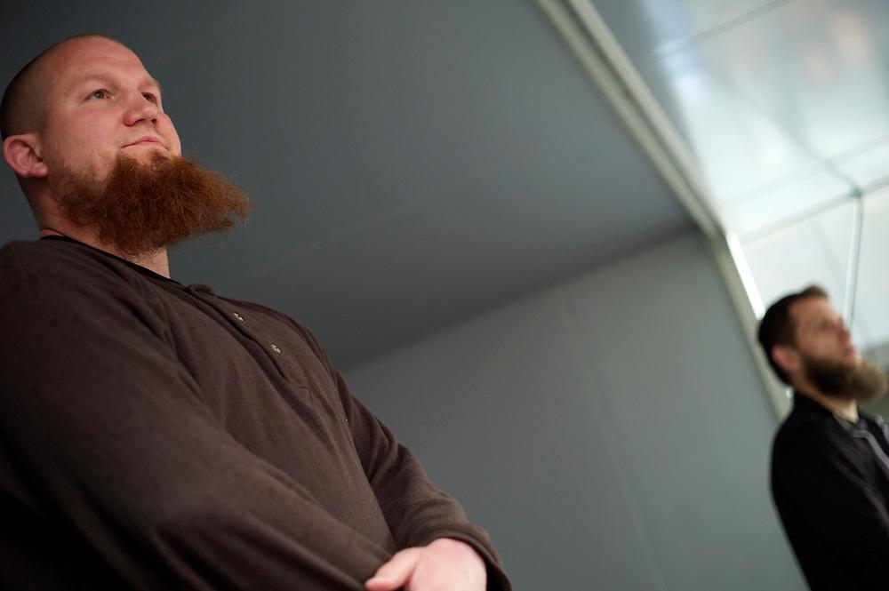Offenbach | Germany | 28.06.2014: Der salafistische, slebsternannte Hassprediger Pierre Vogel (Abu Hamsa) spricht in Offenbach vor 200 Anh&auml;ngern unter dem Protest von mehreren Hundert B&uuml;rgern aus allen Bev&ouml;lkerungsgruppen, die Vogels Positionen ablehnen.<br /> <br /> hier: Pierre Vogel bei seiner Predigt zum Thema Sharia<br /> <br /> <br /> Sascha Rheker<br /> 20130628<br /> NUTZUNG HONORARPFLICHTIG<br /> [Inhaltsveraendernde Manipulation des Fotos nur nach ausdruecklicher Genehmigung des Fotografen. Vereinbarungen ueber Abtretung von Persoenlichkeitsrechten/Model Release der abgebildeten Person/Personen liegt/liegen nicht vor.] [No Model Release | No Property Release]