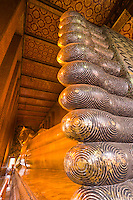 Feet of the Reclining Buddha made of mother of pearl, Wat Pho (Wat Po), Temple of the Reclining Buddha, Bangkok, Thailand