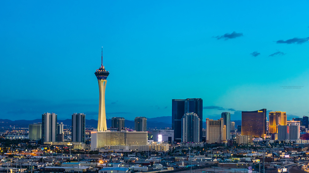 Panoramic view of the Stratosphere Casino Hotel & Tower (on left) and The Strip (on right), Las Vegas, Nevada USA.
