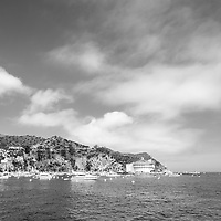 Catalina Island Casino with Avalon Harbor black and white high resolution photo. Beautiful Santa Catalina Island is a popular travel destination off the Southern California coast. Copyright ⓒ 2017 Paul Velgos with All Rights Reserved.