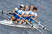 Poznan, POLAND,ITA M4-, Bow Niccolo MORNATI, Alessio SARTORI, Lorenzo CARBONCINI and Carlo MORNATI, at the start of their Repechage at the 2008 FISA World Cup. Rowing Regatta. Malta Rowing Course on Saturday, 21/06/2008. [Mandatory Credit:  Peter SPURRIER / Intersport Images] Rowing Course:Malta Rowing Course, Poznan, POLAND