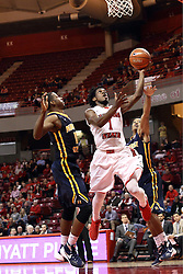 13 December 2015: Paris Lee(1) takes a layup defended by Damarcus Croaker(11). Illinois State Redbirds host the Murray State Racers at Redbird Arena in Normal Illinois (Photo by Alan Look)
