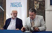 """Lucien Clergue, the french photographer and Jean-Jacques Beucler, director of the french institute,<br />   during  the opening of his exhibition called """"The Intimate Picasso"""" at the french institute in Madrid"""