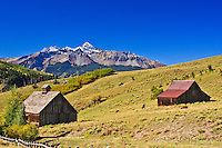 This old barn and ranch buildings are found along the Last Dollar Road below Wilson peak near Telluride, CO.