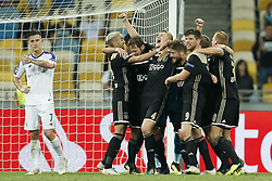 (L-R) Benjamin Verbic of Dynamo Kyiv, Hakim Ziyech of Ajax, Daley Blind of Ajax, Matthijs de Ligt of Ajax, Lasse Schone of Ajax, Klaas Jan Huntelaar of Ajax, Dani de Wit of Ajax during the UEFA Champions League play offs round second leg match between Dynamo Kyiv and Ajax Amsterdam at the NSK Olimpiyskyi on August 28, 2018 in Kyiv, Ukraine
