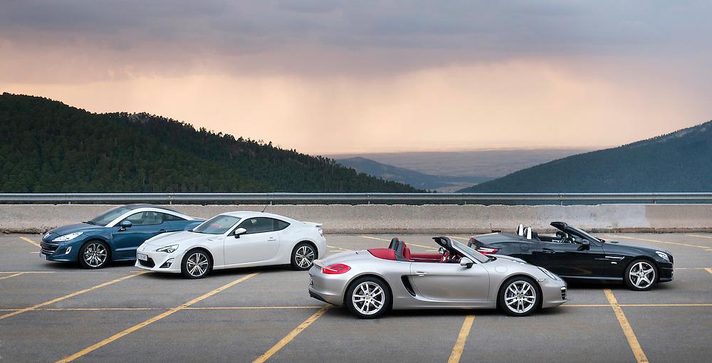 Porsche Boxter, Mercedes SLK, Peugeot, RCZ y Toyota GT86.