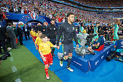 LYON, FRANCE - Wednesday, July 6, 2016: Wales' Hal Robson-Kanu walks out to face Portugal before the UEFA Euro 2016 Championship Semi-Final match at the Stade de Lyon. (Pic by David Rawcliffe/Propaganda)