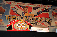 Picture by Richard Gould/Focus Images Ltd +44 7855 403186<br /> 22/06/2013<br /> Kell Brook's Belt pictured during a press conference at Hull City Hall.