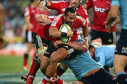 Nafi Tuitavake tackled. NSW Waratahs v Canterbury Crusaders. Sport Rugby Union Super Rugby Representative Provincial. ANZ Stadium. 23 May 2015. Photo by Paul Seiser/SPA Images