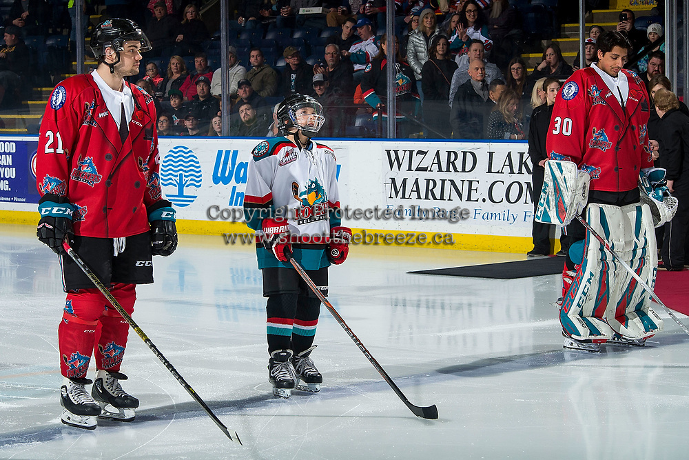 KELOWNA, CANADA - MARCH 9: Domenic Ashbee stands on the ice as the Pepsi Player of the game between Schael Higson #21 and Roman Basran #30 of the Kelowna Rockets against the Kamloops Blazers  on March 9, 2019 at Prospera Place in Kelowna, British Columbia, Canada.  (Photo by Marissa Baecker/Shoot the Breeze)