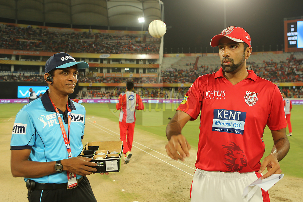 Ravichandran Ashwin of the Kings XI Punjab chooses the match ball during match twenty five of the Vivo Indian Premier League 2018 (IPL 2018) between the Sunrisers Hyderabad and the Kings XI Punjab  held at the Rajiv Gandhi International Cricket Stadium in Hyderabad on the 26th April 2018.<br /> <br /> Photo by: Ron Gaunt /SPORTZPICS for BCCI