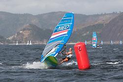 2016 Olympic Sailing Games-Rio-Brazil, dag 1race 3, rm-NED- Dorian Van Rijsselberge- RSX Men, winner in race 3, ANP COPYRIGHT
